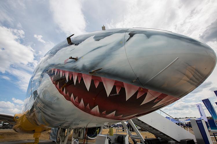 Farnborough Airshow | Vliegtuig met haaiekop