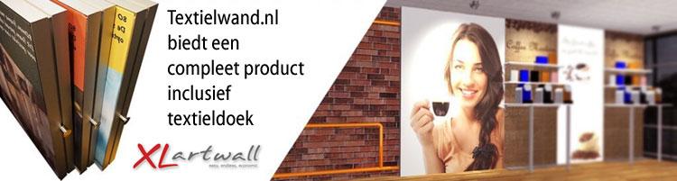 Textielwand.nl biedt een compleet product inclusief textieldoek
