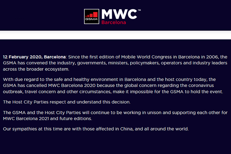 Mobile World Congress 2020 Barcelona geannuleerd