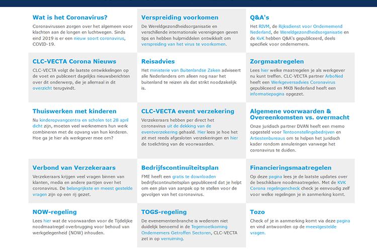 CLC-Vecta pagina met informatie over coronavirus en de beurzensector
